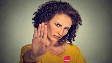 Frau, wütend, genervt, Nein, Ablehnung, Stop, ver.di, Logo