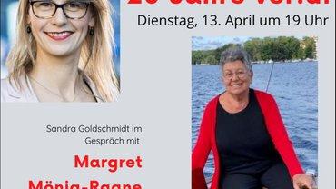 Fotos von Sandra Goldschmidt und Margret Mönig-Raane, und im Text der Hinweis auf das Salongespräch.